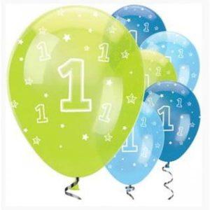 1-jaar-groen-blauw-ballonnen